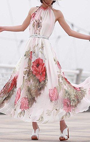 Damen Chiffonkleid Druckkleider Maxikleider Die Neue Neckholder Ärmellos Rückenfrei Trägerlos Taille Bowknot Blumendrucken Swing Elegant 2017
