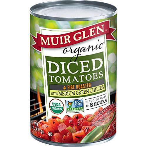 Muir Glen Organic Diced Tomatoes, Fire Roasted with Medium Green Chilies, 14.5-Ounce Cans (Pack of 6) by Muir Glen