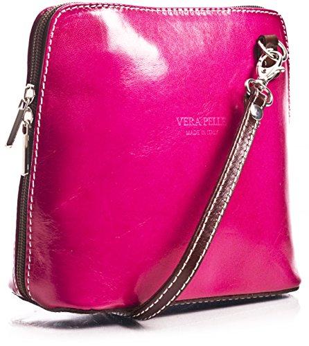 piel Pequeño para bolsa con crossbody suave Magenta de bolso mujer LiaTalia protectora z de Marrón hombro ABBY A8Fqd