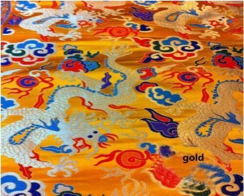 (FidgetFidget MAT122 Dragon Brocade Silk Cloth Fabric Sleeve Dress Costume Material Chinese 1,Gold)