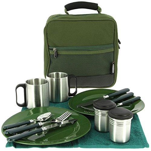 G8DS 13-teiliges Deluxe Campinggeschirr, Tassen und Besteck für 2 Personen Kochgeschirr Camping-Besteck-Geschirr-Set…