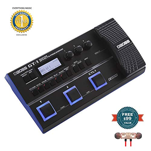 Boss GT-1 Guitar Effects Processor includes Free Wireless Earbuds - Stereo Bluetooth In-ear and 1 Year Everything Music Extended Warranty (Best Guitar Rack Processor)