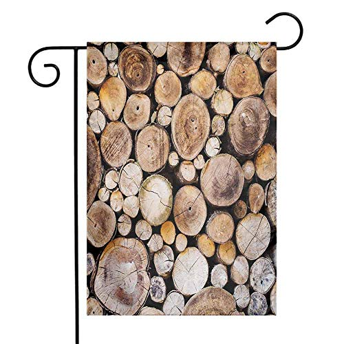 (Mannwarehouse Rustic Garden Flag Wooden Logs Background Circular Shaped Oak Tree Life and Growth Theme Decorative Flags for Garden Yard Lawn W12 x L18 Pale and Sand Brown)
