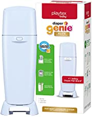 Playtex Baby Diaper Genie Elite Diaper Pail System with Front Tilt Pail for Easy Diaper Disposal, Blue