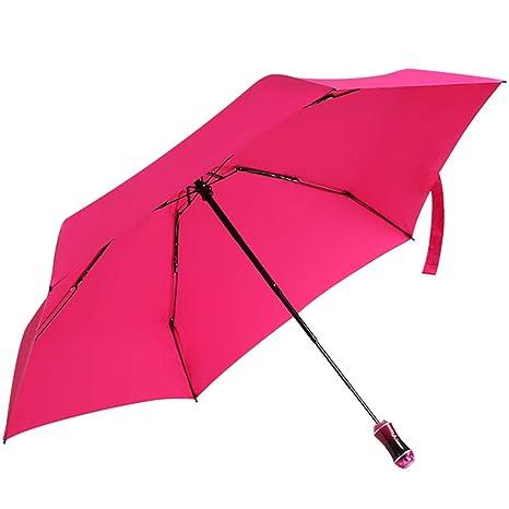 Paraguas Mujer pequeña pequeña Mini Paraguas Ultra Ligera portátil y compacta (Color : Rosado)