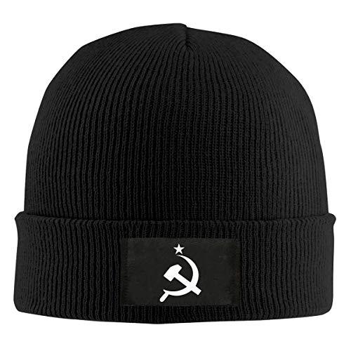 - Russian CCCP Hammer Men & Women's Knitted Hat Stretchy Fleece Beanie Hat Black