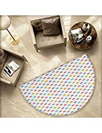 """Cat Half Round Door mats Colorful Pattern of Faces Kids Boys Girls Nursery Design Domestic Lovely Pets Meow Bathroom Mat H 66.9"""" xD 100.4"""" Multicolor"""