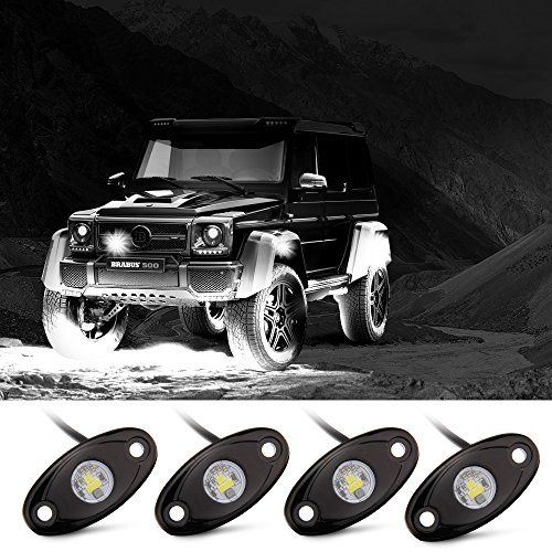 Rock Lights, Off road Lights with 4 Pods CREE LED and Extended wire ( 87″ and 39″ long ) for JEEP Truck ATV SUV 4×4 Underbody Glow Lights White Waterproof