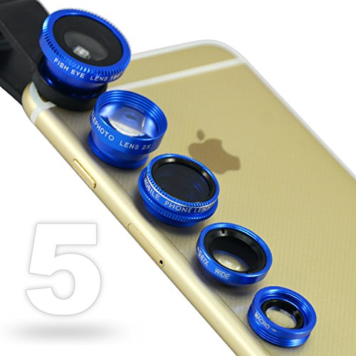 First2savvv JTSJ-5N1-03 blue mobile phone Universal 5 in 1 Clip Camera professional glass Lens Kit (fish eye, wide angle, macro, barlow and polarizer lens) for sony Z1 E1 Z1 compact xperia Z2 xperia M2 Z3 compact Xperia E3 with stylus pen