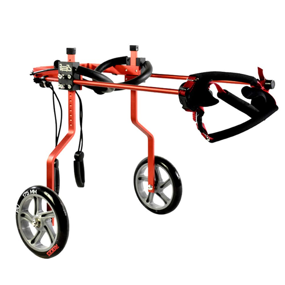 QETU Dog Wheelchair, Adjustable Dog Pet Wheelchair Hind Legs Rehabilitation, for Disability Paralyzed Pet Auxiliary Car,Red,S
