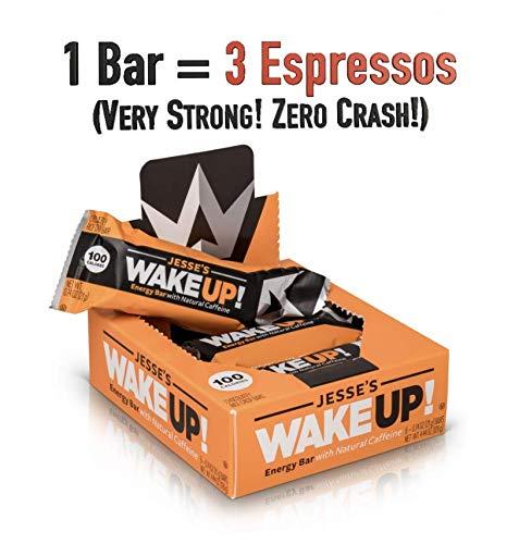 Jesses WakeUP! Energy Bars (1 Bar = 3 Espressos) - All Natural Caffeine, Dark Chocolate Rice Crisp Bar (100 Calories) - Vegan, Kosher, Soy Free, Gluten Free, Nut Free, Non-GMO (6 Count)