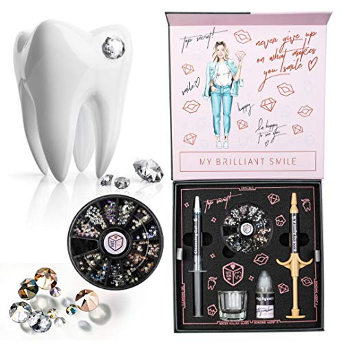 TeethGemsBox Professional Teeth Gems Kit - Tooth Jewlery Kit - Fashionable Removable Tooth Ornaments - Includes 280 Gems in 10 Colors and 2 Sizes to Decorate Your Teeth for Any Occasion
