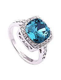 Acefeel Retro 1.5ct Lake Blue Austrian Crystal Engagement Ring 18k White Gold Plated Ring R086