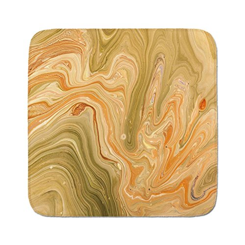 Pads Cushion Area Rug,Marble,Antique Ethnic Ottoman Art Ebru Turkish Marbling Modern Artwork,Orange Olive Green Sand Brown,Easy to Use on Any Surface ()