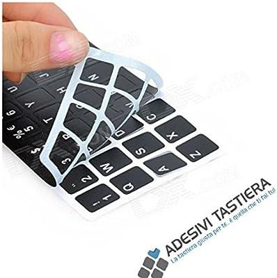 AdesiviTastiera it- Pegatinas para teclado italiano, letras blancas sobre fondo negro