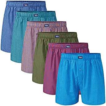 Charles Wilson 6 Pack Woven Boxer Shorts (Mixed Small Check, Small)