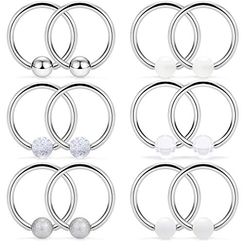 SCERRING 6 Pairs 16G Stainless Steel Captive Bead Ring Nipple Rings Hoop Cartilage Earrings Nipplerings Piercing Jewelry for Women Men 14mm Silver ()