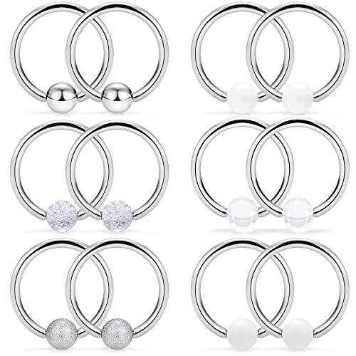 SCERRING 6 Pairs 16G Stainless Steel Captive Bead Ring Nipple Rings Hoop Cartilage Earrings Nipplerings Piercing Jewelry for Women Men 14mm ()