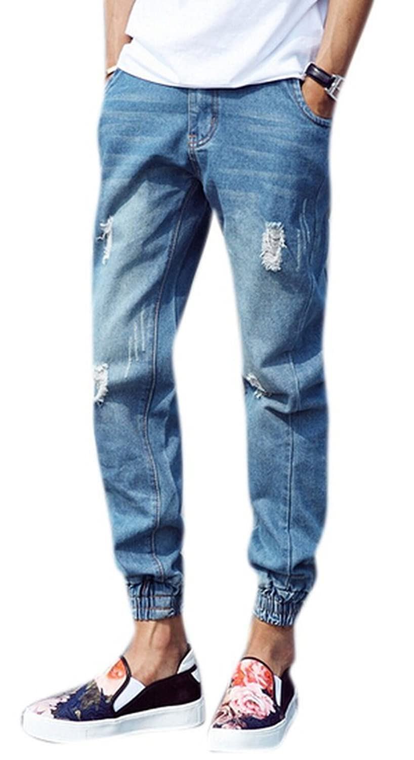 db5650b1144bf new Sarriben Men s Blue Denim Ripped Jogger Pant Jean with Hole. outlet  DKNY Women s Stretch Pleated Linen ...