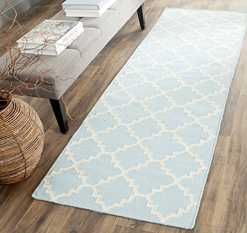683726385219 - Safavieh Dhurries Collection DHU554B Hand Woven Light Blue and Ivory Premium Wool Area Rug (5' x 8') carousel main 2