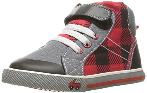 See Kai Run Dane Sneaker (Toddler/Little Kid), Red Plaid, 4 M US (Red Plaid Sneaker)