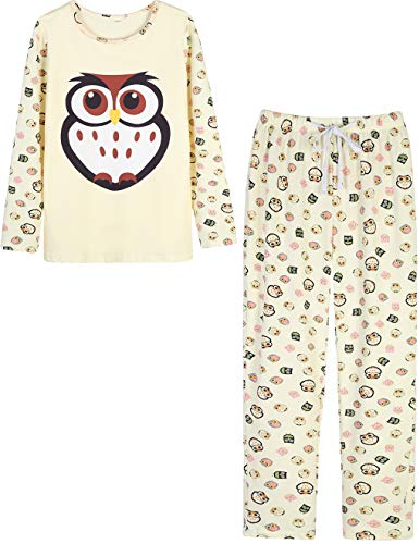VENTELAN Women's Cute Owl Printed Sleepwear Pajamas Leisure Comfort Nightgown, Beige, Small(USA Size:46)
