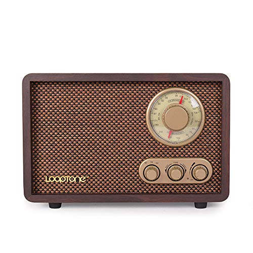 LoopTone FM AM Radio Retro Wood Radio with Bluetooth Play Mp3 and Antenna Built in Speaker for Kitchen Living Room