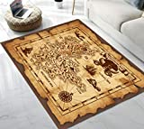 Pirate Treasure Map Pattern Area Rug for Living Room Bedroom Playing Room 5'x7'