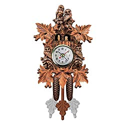 QZY Cuckoo Wall Clock Bird Alarm Clock Wood Hanging Clock Time for Home Restaurant Unicorn Decoration Art Vintage Swing Living Room,C
