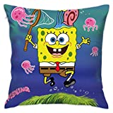 LIUYAN Pillow Cover Cushion Cover Spongebob Hunting Jellyfish Decorative Pillow Case Sofa Seat Car Pillowcase Soft 18x18 Inch