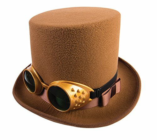 Gold Top Hat (Steampunk Brown Top Hat with Gold Goggles)