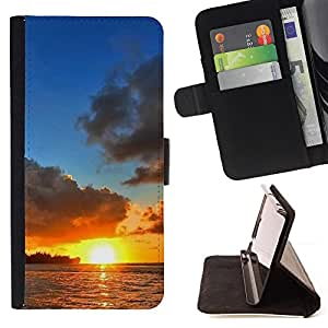 DEVIL CASE - FOR Sony Xperia m55w Z3 Compact Mini - Sunset Sea Beautiful Nature 12 - Style PU Leather Case Wallet Flip Stand Flap Closure Cover