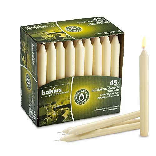 BOLSIUS Straight Unscented Ivory Candles Pack of 45-7-inch Long Candles - 7 Hour Long Burning Candles - Perfect for Emergency Candles, Chime Candles, Table Candles for Wedding, Dinner, Christmas (Candles Taper)