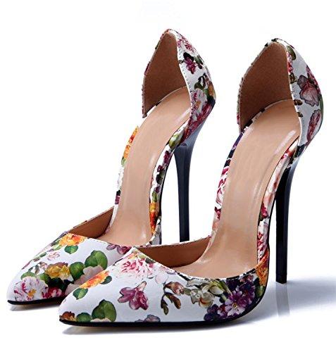 JUWOJIA 13Cm Verano Tacones De Aguja Hueca Superficial La Mujer Señaló Toe Sandalias De Tacón Partido Club Flora