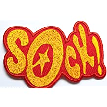 SOCK! Patch 3 Inches Embroidered Iron / Sew on Badge Applique Motif Bam! Zok! - Free Shipping!