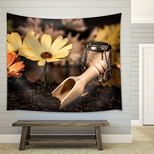 Concept Landscaper Planting Flowers Wine Cork Figures Fabric Wall Tapestry