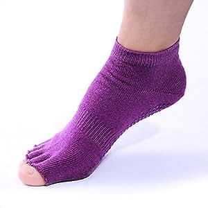 Xcellent Global Yoga, Pilates Socks Non Slip, 1 Pair (2 PCS), Purple M-SP015