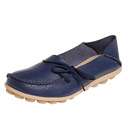 wyhweilong Women Leather Walking Shoes Casual Flat Driving Loafers Dark Blue