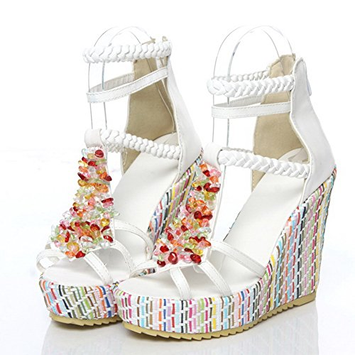 VogueZone009 Womens Open Toe High Heels PU Soft Material Solid Sandals with Platform and Bead White MNJEDS