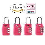 TSA Luggage Locks,TSA Approved Travel Combination Luggage Locks for Suitcases-4 Pack (Pink)