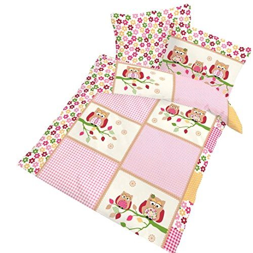 IDO Fein Biber Bettwäsche 2tlg. Pink Eule 27823-410 Kinder Baby Gitterbett Bettwäsche Bettbezug 40 x 60 cm / 100 x 135 cm
