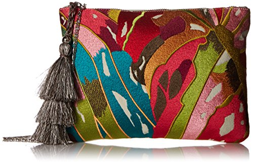Steve Madden Malibu Embroidered Colored Bohemian Geometric Fabric Pouch Crossbody, Multi ()