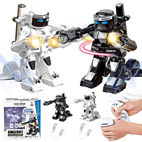 Boxing Fighter Robots Toy - MUMUQI 2 Pcs Battle Boxing Robot/Toys, Remote Control 2.4G Humanoid Fighting Robot, Two Control Joysticks Real Boxing Fight Experience (Black and White)
