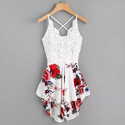 Dreaman Women's Crochet Lace Panel Bow Tie Back Florals Ladies Summer Daily Shorts Jumpsuit Romper (M) by Dreaman (Image #1)