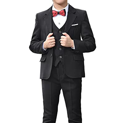 Amazon Com Boys Red Navy Black 3 Colors Tuxedo Suits 5 Pieces