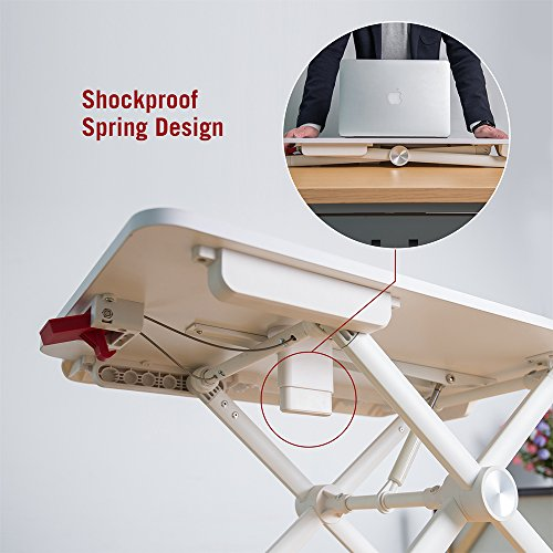 """TaoTronics Standing Desk Converter, Height-Adjustable Stand Up Desk, 24"""" Laptop Table, Notebook Stand, Sit to Stand in Seconds, White by TaoTronics (Image #3)'"""
