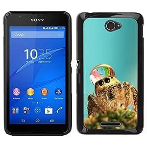 Caucho caso de Shell duro de la cubierta de accesorios de protección BY RAYDREAMMM - Sony Xperia E4 - Araña linda de gotas de agua