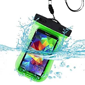 Premium Waterproof Sports Swimming Waterproof Water Resistant Armband Case Bag Pouch for BLU Studio 5.0 C HD, Win HD, Win HD LTE, Win JR LTE (with Lanyard) (Green) + MYNETDEALS Mini Touch Screen Stylus