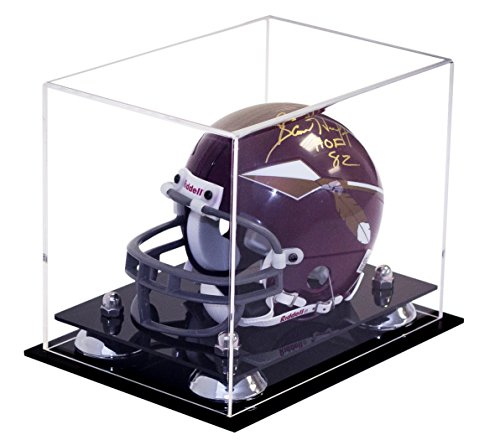 Better Display Cases Mini Football Helmet Display Case (not Full Size) Clear Acrylic Plexiglass with Silver Risers (A003-SR)