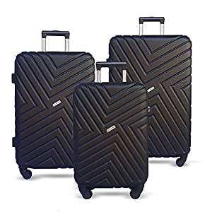 JETT BLACK Luggage Set 3 Piece Suitcase Expandable Lightweight Hard Case Spinner Wheel TSA Carry On Black